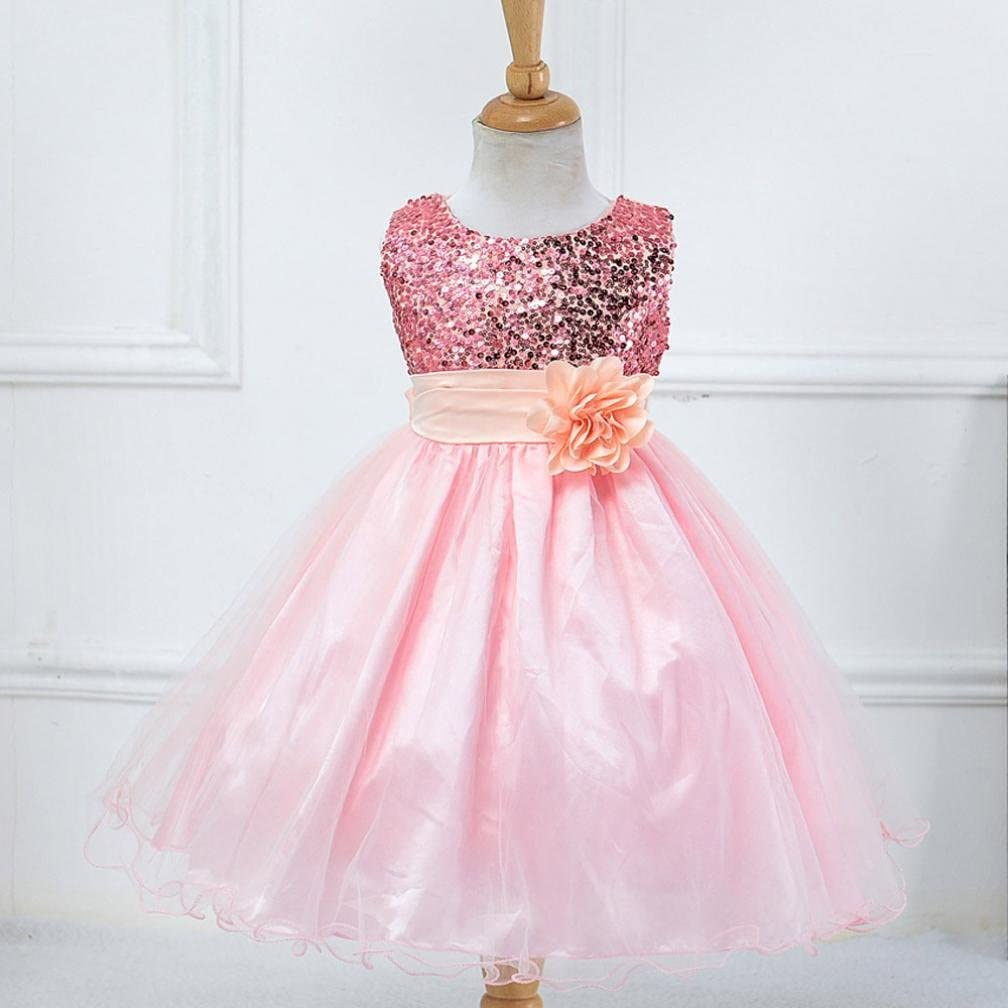 YJM Toddler Baby Girls Bling Sequins Sleeveless Tutu Princess Dress Outfits Clothes