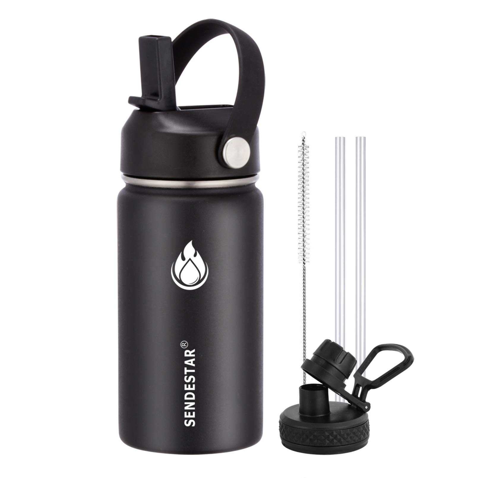 SENDESTAR Stainless Steel Water Bottle-12oz, 24oz, 40oz or 64oz with New Straw Lid and Spout Lid, Keeps Liquids Hot or Cold with Double Wall Vacuum Insulated Sweat Proof Sport Design (12 oz-Black)