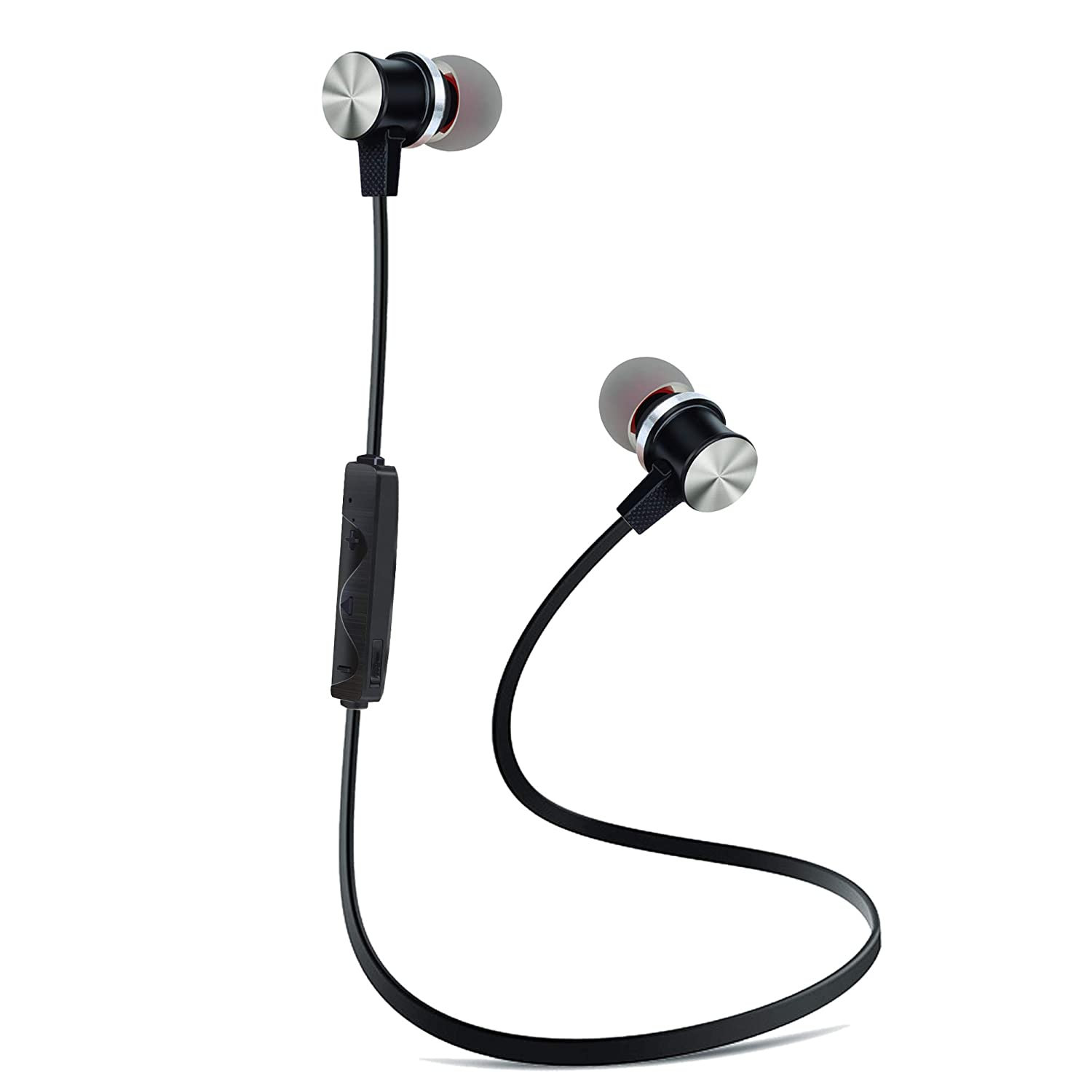 Bluetooth Earphones with Microphone, BYZ1 Bluetooth V4.2 Wireless Headphones in Ear Earbuds Deep Bass HiFi Stereo Sound, 8 Hrs Playtime for Travel, Work (Black)