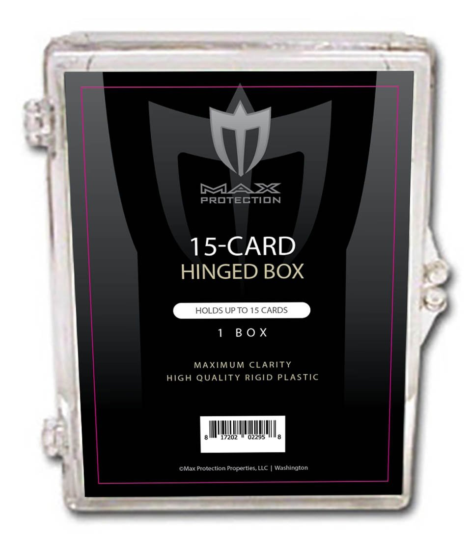 Max Pro Ultra Black Label Hinged Card Holders (Holds up to 15 cards). 15ct Holds Standard Size Baseball, Football, Basketball, Sports Cards, Gaming & Trading Cards (25)