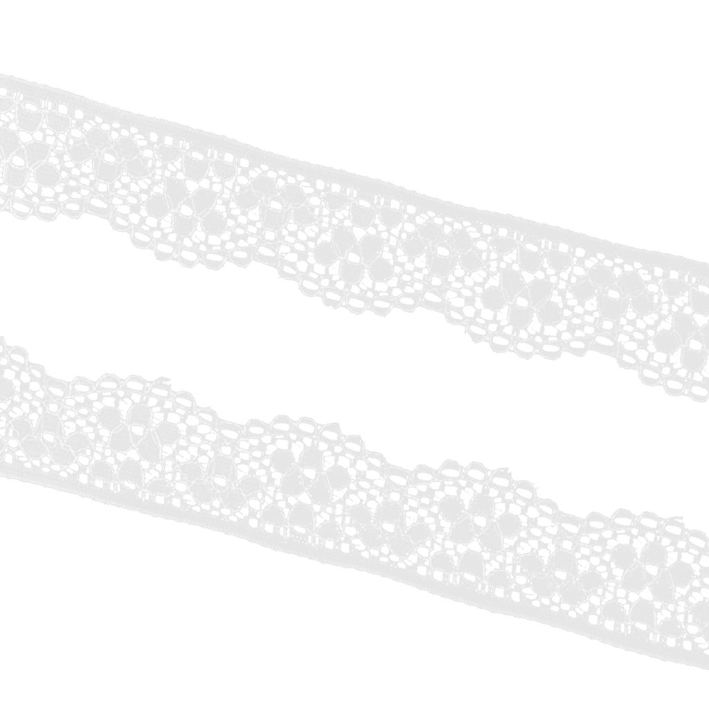 MagiDeal 5 Yard Hollow Embroidery Lace Trim Ribbon for Sewing Decoration 23mm Black White - White