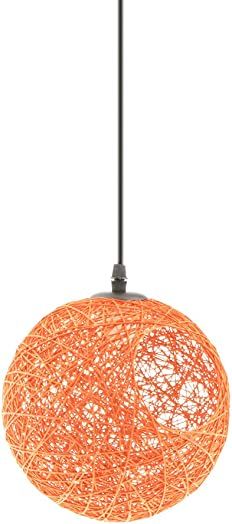 Fityle Modern Round Wicker Rattan Globe Ball Style Ceiling Pendant Light Lampshade Home Dining Decoration Lamps with Cable – 20cm – Orange