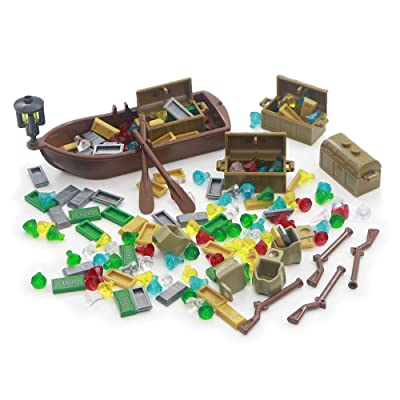 Treasure Chest Gem Accessories Bricks Parts Building Toys 163 Pieces Set Pirate Ship Gold Silver Cash Bar Diamond Blocks Compatible with All Major Brands: Toys & Games