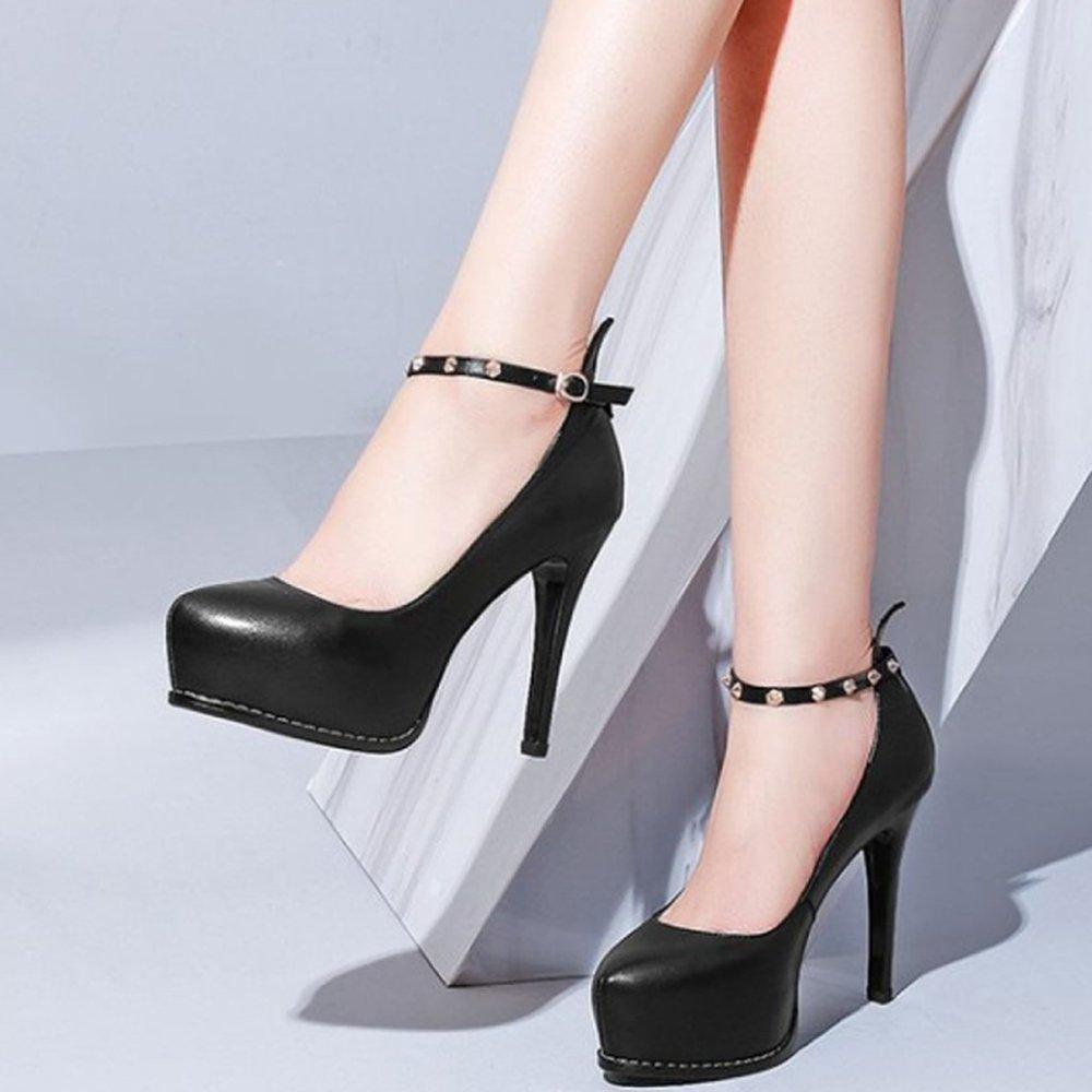 Frauen Schwarze Plattform Stiletto Schuhe Mit Hohen Absätzen Knöchelriemen Schnallen Schnallen Schnallen Hochzeit Schuhe Pumps Court Schuhe cb51e5