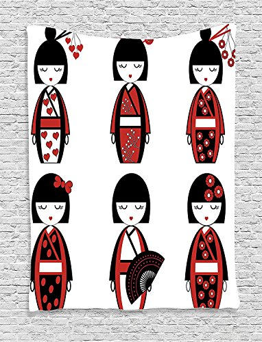 Girly Unique Asian Geisha Dolls in Folkloric Costumes Outfits and Hair Sticks Kimono Art Image Black Red Supersoft Throw Fleece Blanket (Geisha Costume Australia)