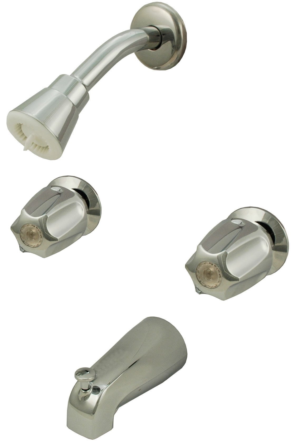 8'' Two-way Tub & Shower Valves, Chrome Finish, Verve Handles, Compression Stems - By Plumb USA