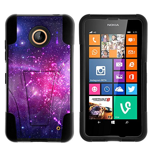 Nokia Lumia 635 Case, Nokia Lumia 630 Case, Durable Hybrid STRIKE Impact Kickstand Case with Art Pattern Designs for Nokia Lumia 635, 630 (AT&T, Sprint, T Mobile, Cricket, Virgin Mobile, Boost Mobile, MetroPCS) from MINITURTLE | Includes Clear Screen Protector and Stylus Pen - Heavenly Stars (Phone Cell Case Nokia 630)