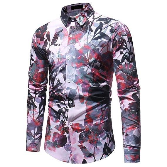 Mymyguoe Blusa de Hombre Primavera Invierno Moda Impreso Casual Manga Larga Camisas Delgadas Tops Blusa Superior Camisa de Manga Larga Solapa Hombre T-Shirt ...