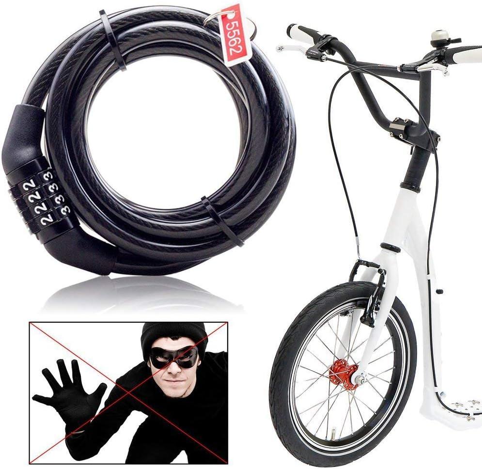 Leoboone candado Multifuncional para Bicicleta con c/ódigo de Seguridad antirrobo Cerradura de combinaci/ón de Acero Cable de Bloqueo Universal para Bicicleta de monta/ña