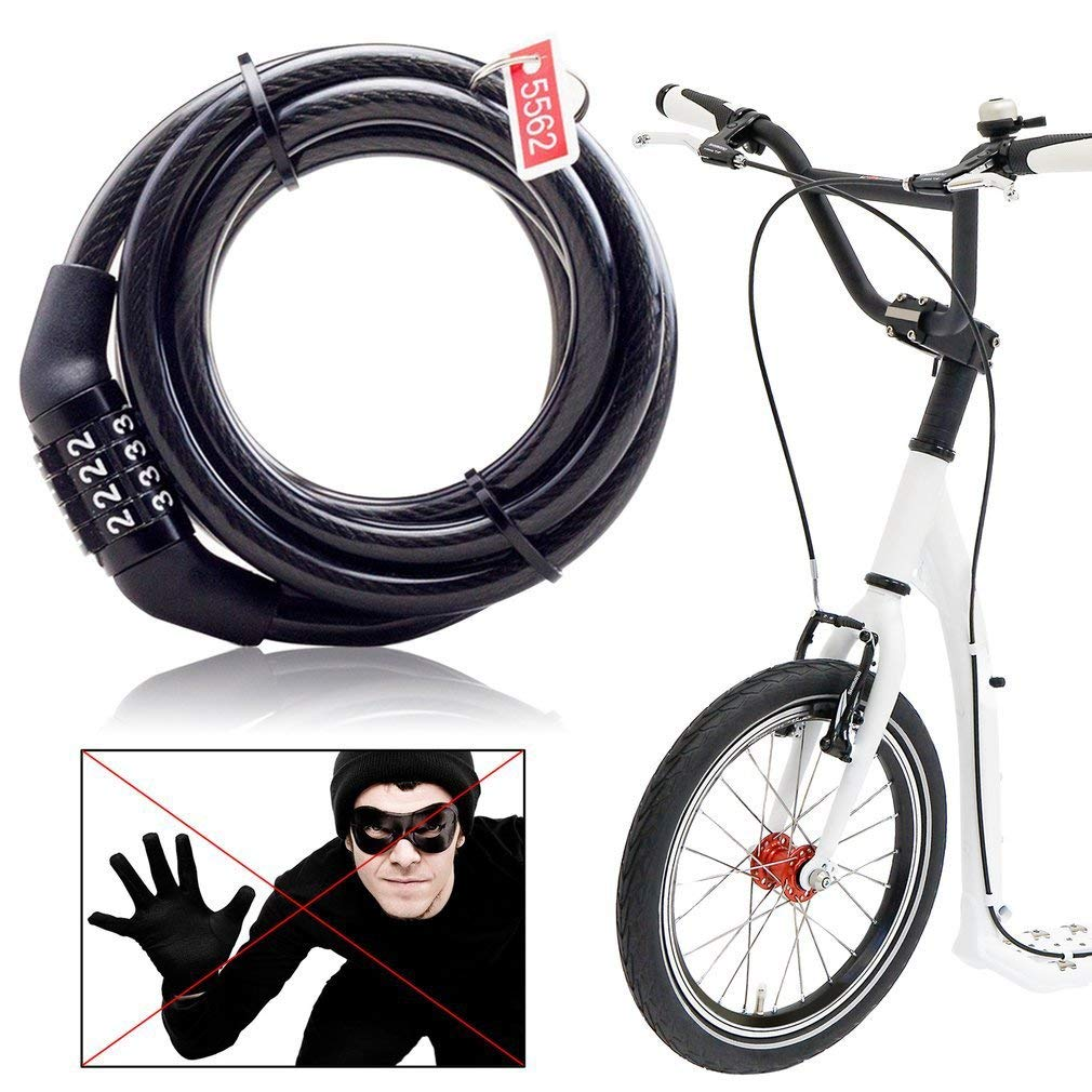 73JohnPol Multifunctional Bicycle Lock Anti-Theft Security Code Combination Lock Strengthen Steel Universal Mountain Bike Cable Lock