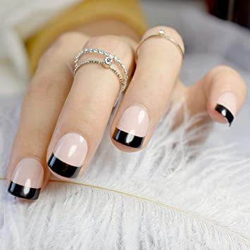 Amazon Com Short Natural French Nail Black Tip Beige Round Fake