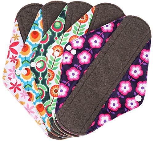 Wegreeco Bamboo Reusable Sanitary Pads - Cloth Sanitary Pads - Pack of 5 (Medium,Flower)