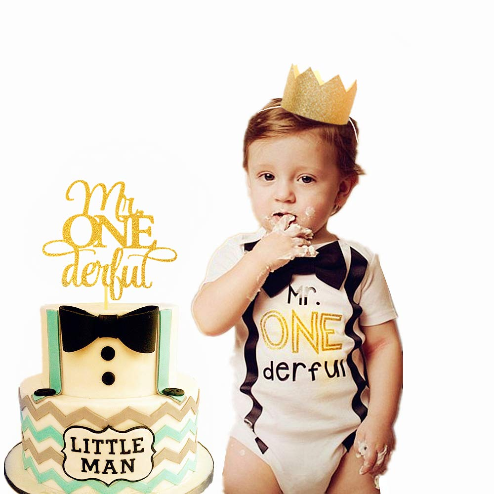 JeVenis Glittery Mr Onederful Cake Topper 1st Birthday Cake Topper Little Man Cake Topper with Baby Boy First Birthday Crown for 1st Birthday Boy Baby Shower Birthday Party Decorations