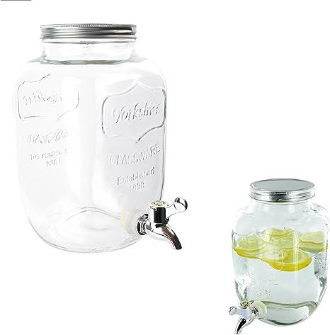 Fuente de bebida, tarro de cristal con grifo, Capacidad 4 L ...