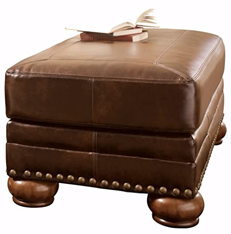 Ashley Furniture Signature Design   Chaling Accent Ottoman   Traditional  And Weatherworn Style   Antique Brown