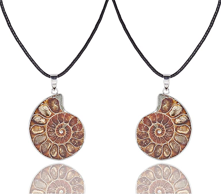 Hand Crafted OOAK Copper Electroformed Necklace Nature Inspired Boho Pendant Necklace Ammonite Fossil Snail Pendant