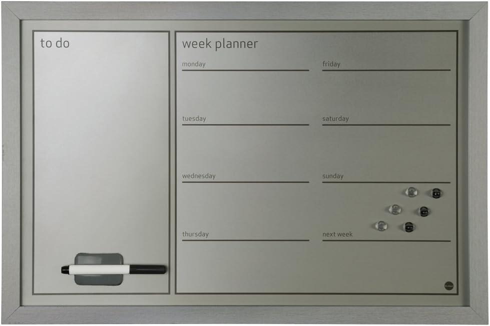Bi-Office MM03308169 Organiser con Planner Settimanale e Messaggi 60x40 Nero//Argento