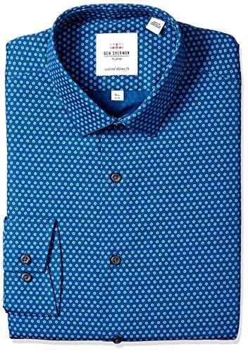 Ben Sherman Men's Skinny Fit Soho Floral Print Dress Shirt, Navy, 15