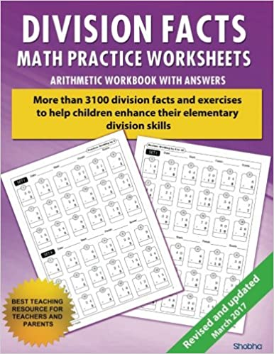 Division Facts Math Practice Worksheet Arithmetic Workbook With