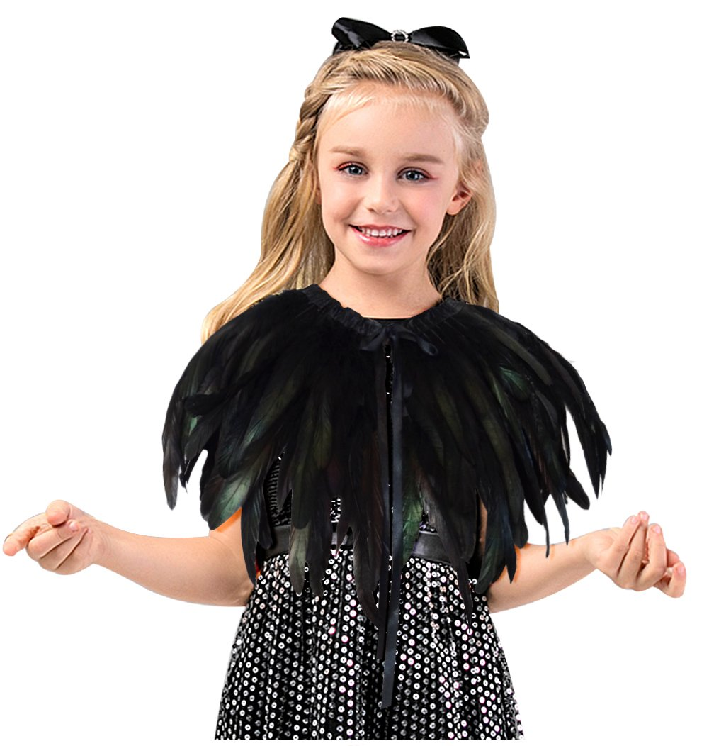 L'vow Fashion Kids Feather Capes Stole Shawl Iridescent for Game Party Hallowmas (Black)