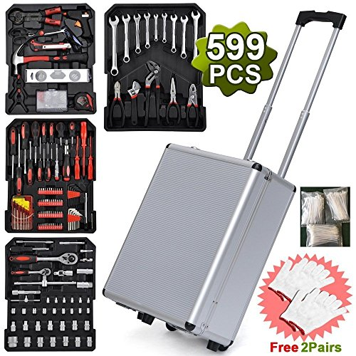 Teekland Aluminium Tool Set Standard Metric Mechanics Kit Case Box Organize Castors Trolley Auto Home Repair Kit Screwdriver Socket with 2 Pair Gift Gloves 599pcs