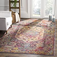 Safavieh Crystal Collection CRS514T Teal and Rose Distressed Bohemian Medallion Area Rug (3 x 5)