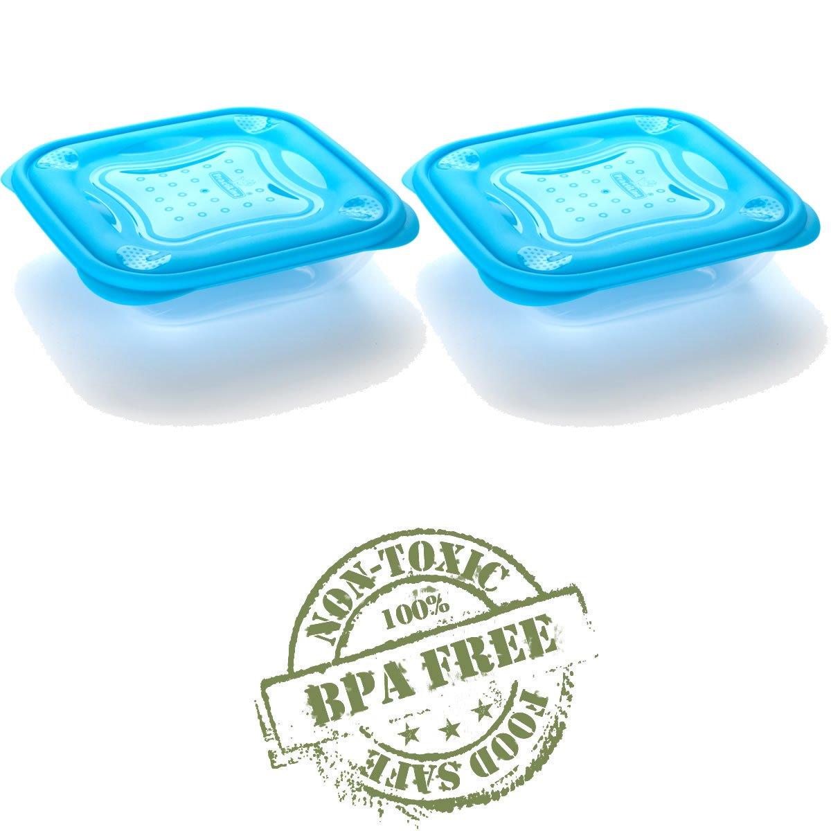 Set de 2 Recipientes Hermeticos Cuadrados con Tapa Azul de 0,5 Litros BPA Free.