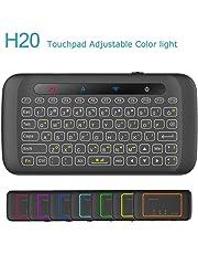 LinStar TV Box Mini Keyboard, H20 2.4G Teclado inalámbrico con Touchpad Mouse Control Remoto de TV con retroiluminación