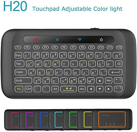 Mini teclado penkou H20 2.4 GHz Wireless Upgrade Backlit Control remoto Con Touch Pad for PC Tablet PC Smart TV Google/Android Box/Stick (H20)