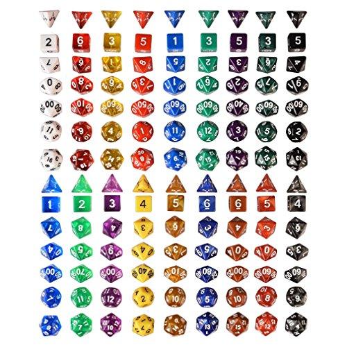 126-Polyhedral-Dice-18-colors-w-Complete-set-of-d4-d6-d8-d10-d12-d20-d