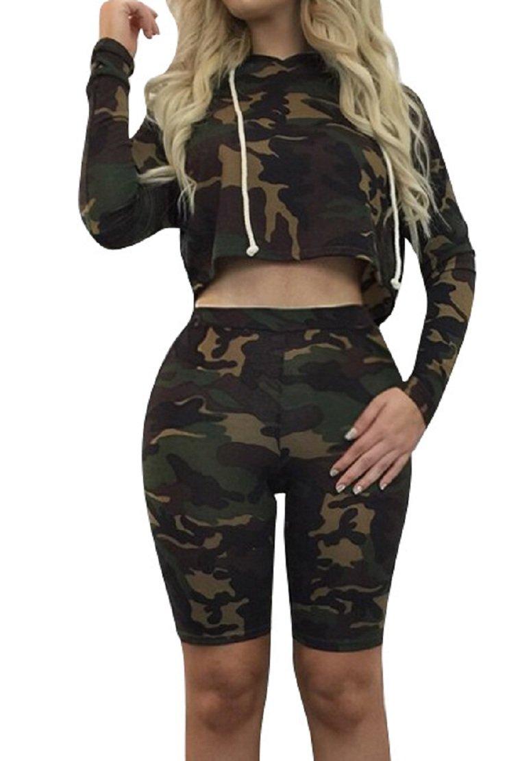 Sorrica Women's Sexy 2 Piece Jumpsuit Sportswear Camo Hoody Pants Set Tracksuit (S, Camo)