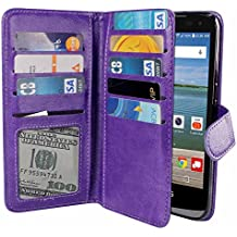 NEXTKIN LG Optimus Zone 3 Case, Leather Dual Wallet Folio TPU Cover, 2 Large Pockets Double flap Privacy, Multi Card Slots Snap Button Strap For LG Optimus Zone 3 VS425PP - Purple