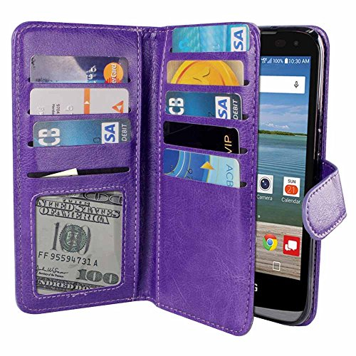 Wallet Double Flap (NEXTKIN LG Optimus Zone 3 Case, Leather Dual Wallet Folio TPU Cover, 2 Large Pockets Double flap Privacy, Multi Card Slots Snap Button Strap For LG Optimus Zone 3 VS425PP - Purple)