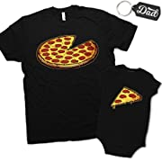 Funny Pizza Pie & Slice Infant Baby Bodysuit & T-Shirt Set Dad (Black) (12M & XL)