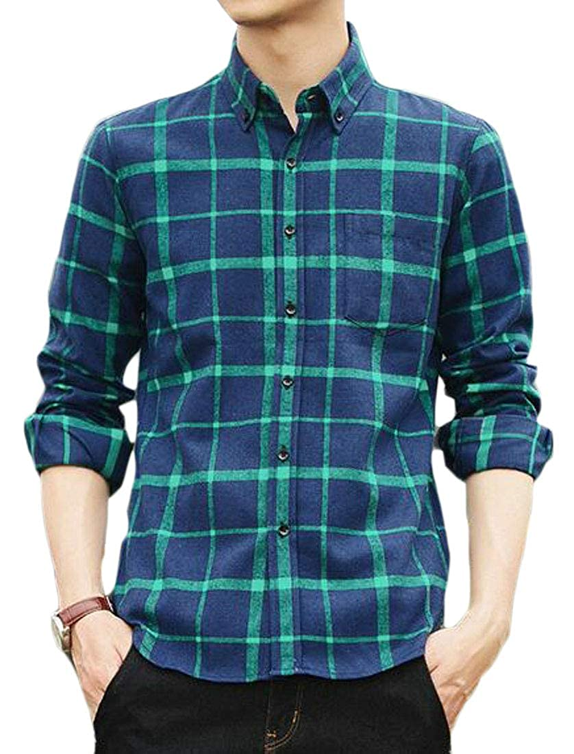 Fubotevic Mens Button Down Casual Plaid Print Long Sleeve Dress Flannel Checkered Shirt