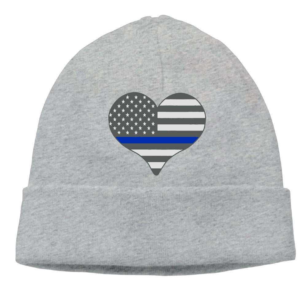 Unisex I Love Police Thin Blue Line Outdoor Fashion Beanies Hat Soft Winter Skull Caps