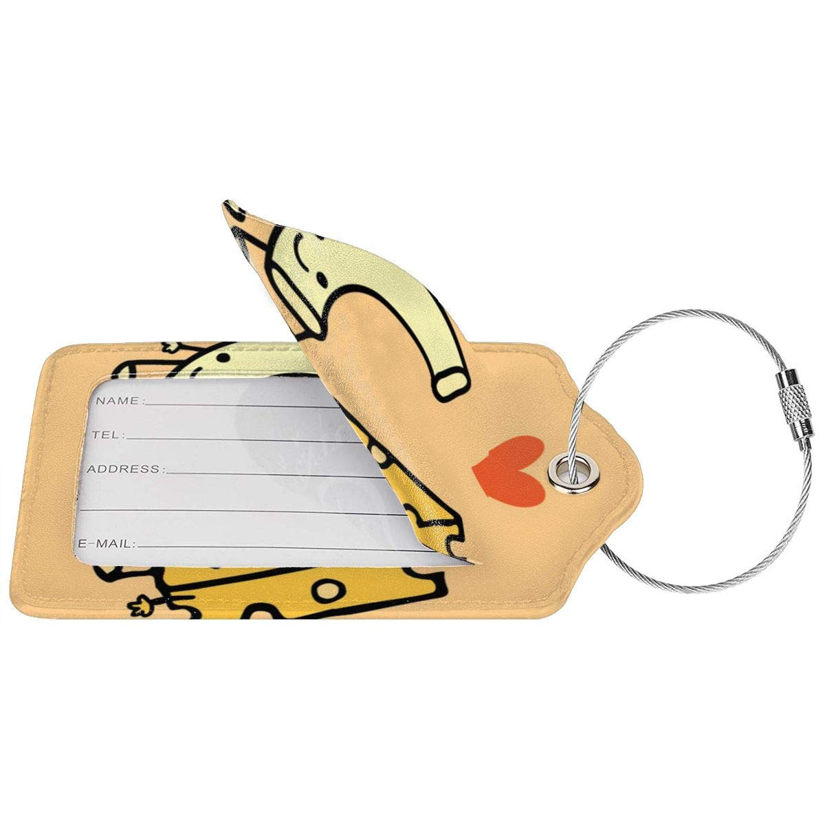 GoldK Macaroni and Cheese Leather Luggage Tags Baggage Bag Instrument Tag Travel Labels Accessories with Privacy Cover