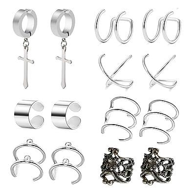 62f6ef4f48337 Buy POSTWAVE 7 Pairs Stainless Steel Ear Clips Non Piercing Earrings ...