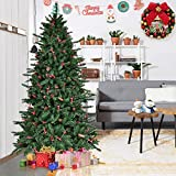 Goplus 6Ft Christmas Tree Artificial 1388 Tips Premium Hinged Spruce Full Tree with Pine Cones, Beries and Solid Metal Stand
