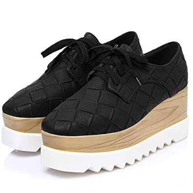 7fb4286c4e PP FASHION Women's Ankle High Platform Shoes Stylish Formal Wedges Casual  Sneakers Black US4.5