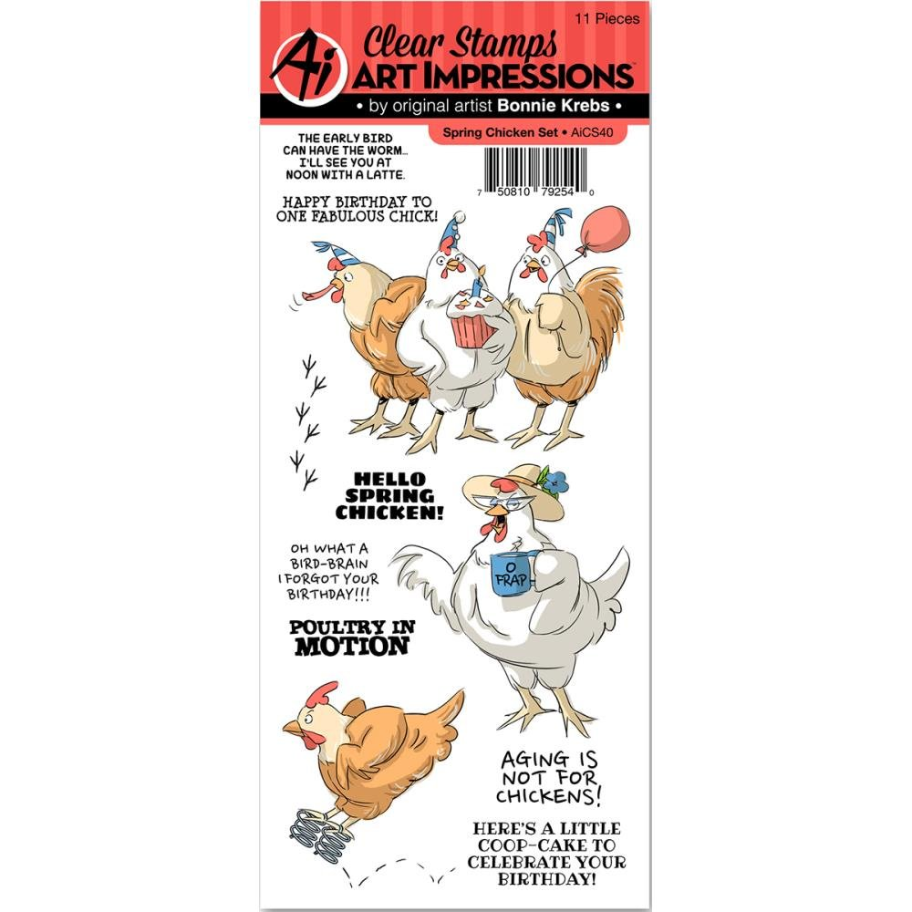 Art Impressions Unmounted Clear Stamps, Spring Chicken