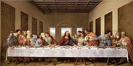 The Last Supper by Leonardo Da Vinci Laminated Art Print, 28 x 14 inches