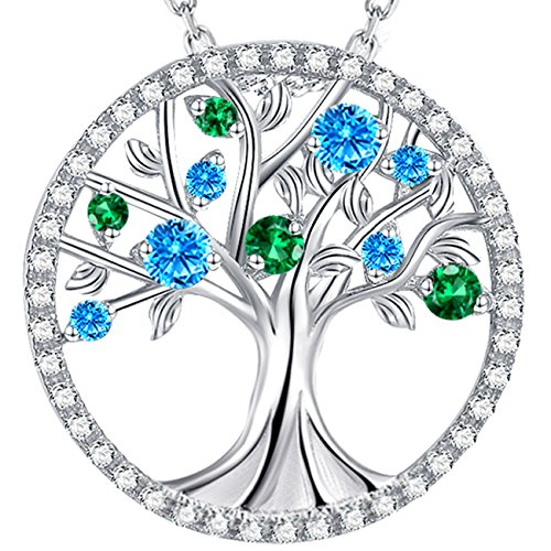 GinoMay ❤️ Tree of Life❤️ March birthstone Necklace Sterling Silver Jewellery Birthday Gifts for Women,Elegant Gift Box,Allergen-free,45+5cm