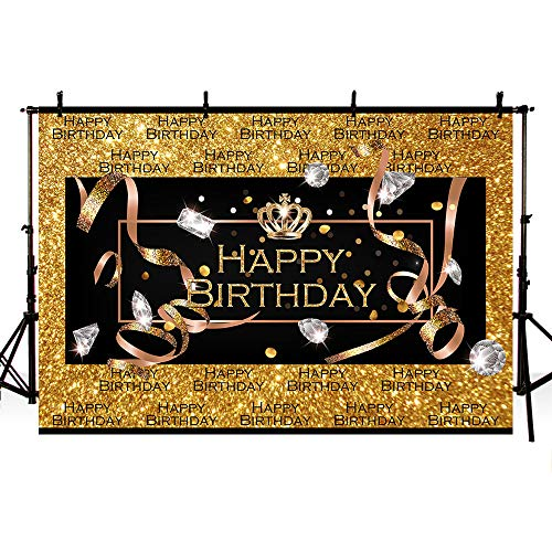 MEHOFOTO Glitter Gold Diamond Photo Studio Booth Background Step Repeat Adult Happy Birthday Silver Crown Party Decorations Banner Backdrops for Photography 8x6ft