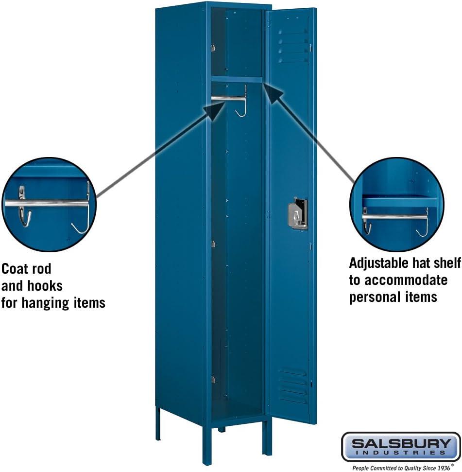 Amazon Com Salsbury Industries 51168bl U Single Tier 15 Inch Wide 6 Feet High 18 Inch Deep Unassembled Extra Wide Standard Metal Locker Blue Furniture Decor