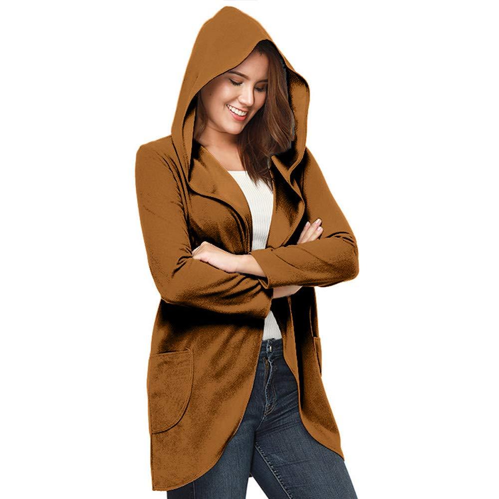 Geili Damen Wollmantel Herbstmantel Frühlingmantel Gute Qualität Elegante Lang Kapuzenjacke mit Reverskragen Frauen Übergrößen Einfarbige Taschen Mäntel Cardigan Coat Größe S-3XL