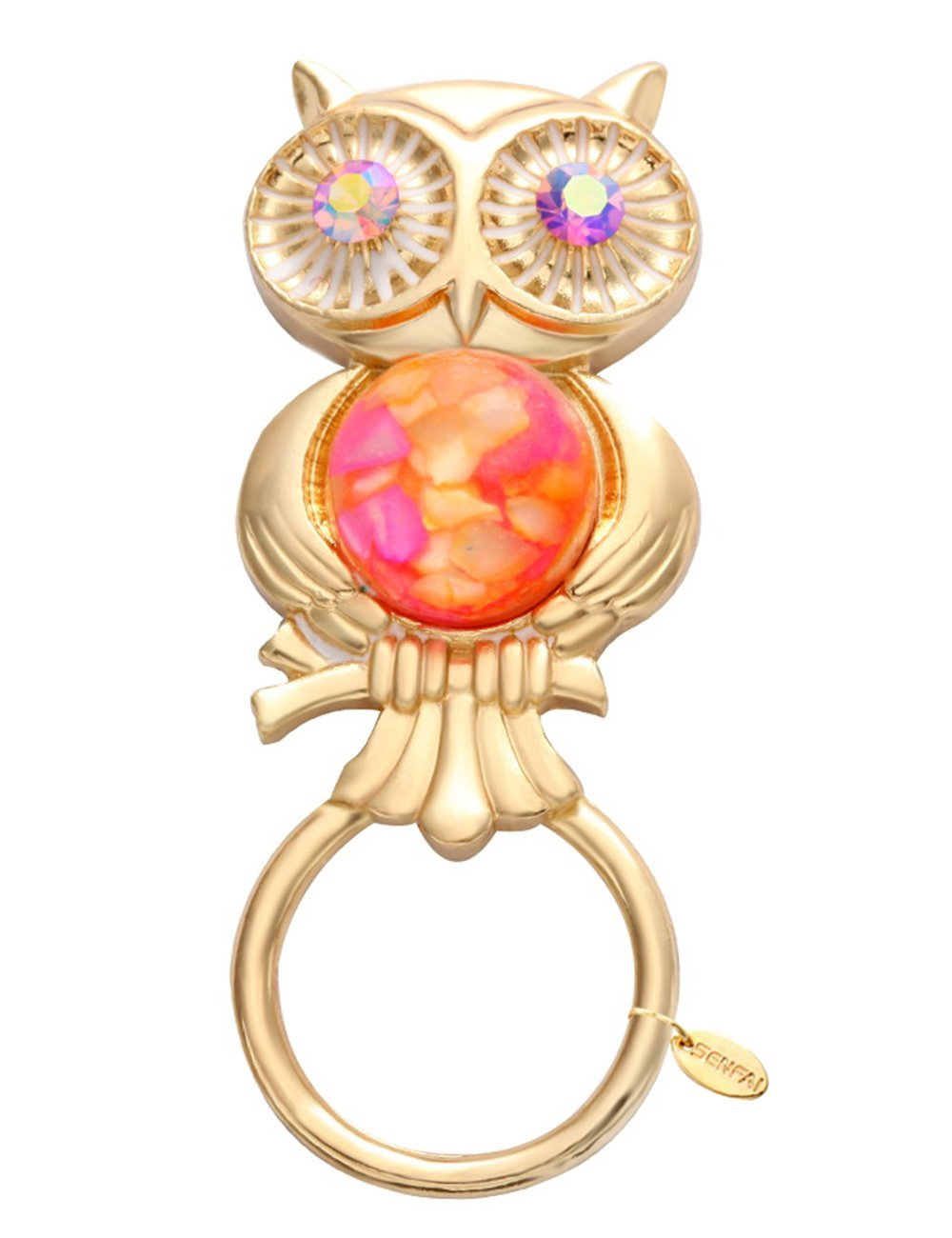 SENFAI Gold Color Owl With Natural Stone Manget Eyeglass Holder Mather Day Gift