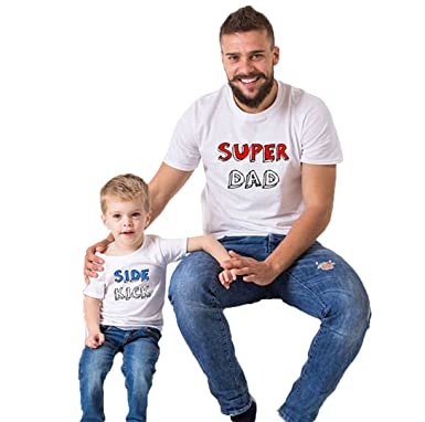 5d383b3ff32 Amazon.com  Zaaale Super Dad   Side Kick Father Son Daughter Matching T  Shirts Family Matching Shirts Outfits Clothes  Clothing