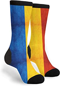 NGFF Vintage Romanian Language Magnificent Flag Men Women Casual Crazy Funny Athletic Fancy Novelty Graphic Crew Tube Socks Moisture Wicking Gift