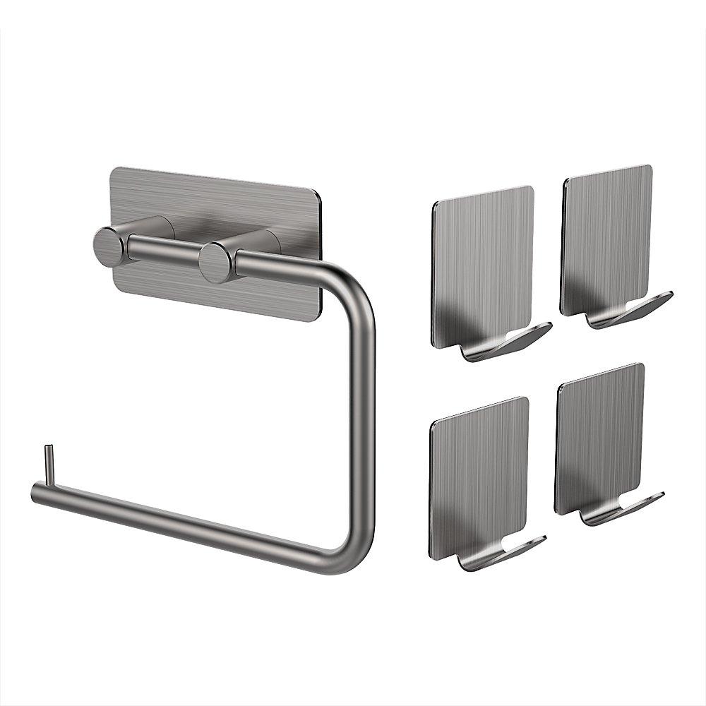 MAPUX Portarrollos para Papel Higiénico de Acero Inoxidable 3M Autoadhesivo con 4 Ganchos product image